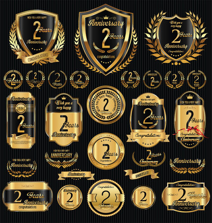 nombre d or: Anniversary golden shields laurel wreaths and badges collection Illustration