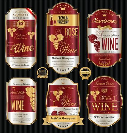Luxe gouden wijn etiketten collectie