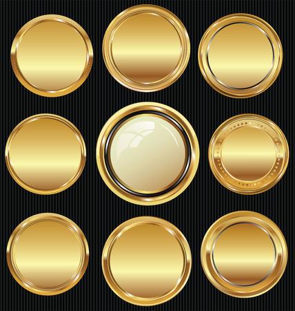 Pusta kolekcja luksusowych złotych etykiet