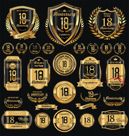 jubilees: Anniversary golden retro vintage labels collection