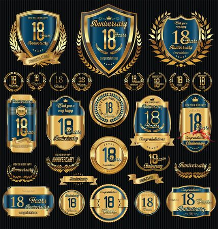 happy birthday 18: Anniversary golden retro vintage labels collection
