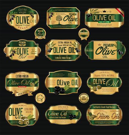 Olive oil retro vintage background collection Vetores