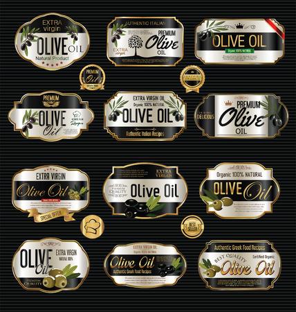 mediterranean diet: Olive oil retro vintage background collection Illustration