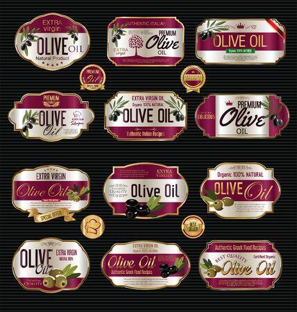 olive oil bottle: Olive oil retro vintage background collection Illustration