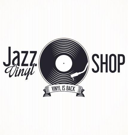 vinyl record: Jazz vinyl record retro background Illustration
