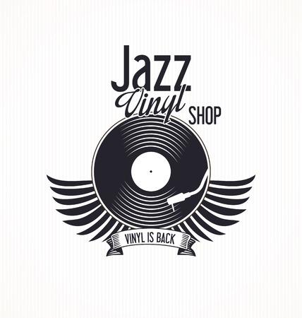 lyric: Jazz vinyl record retro background Illustration