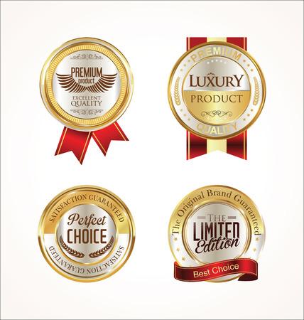 ゴールデン販売ラベル レトロなビンテージ デザイン コレクション  イラスト・ベクター素材