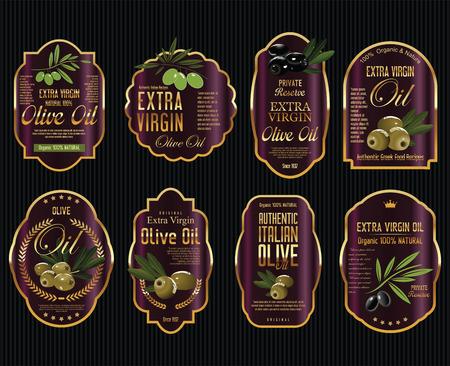 El aceite de oliva retro cosecha de oro y negro etiquetas colección Ilustración de vector