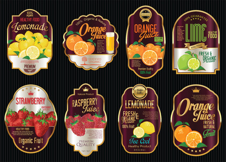 Ensemble de fruits bio rétro collection vintage labels d'or Vecteurs