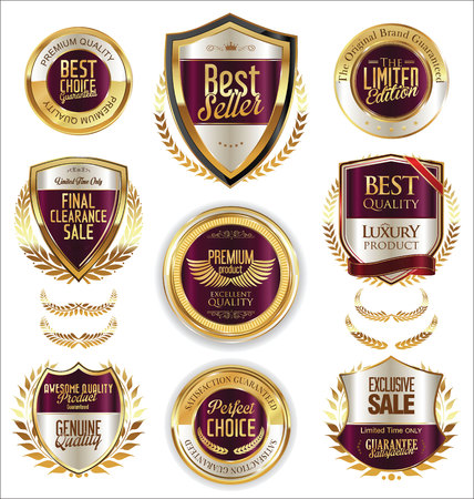 shielding: Premium and luxury golden retro badges and labels collection