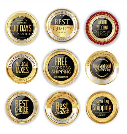 advantages: Free shipping and best quality golden labels collection Illustration