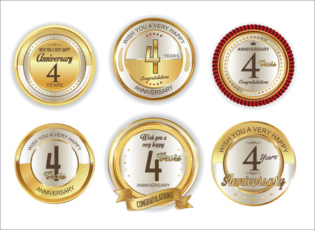 commemoration: Anniversary retro vintage golden badges collection 4 years