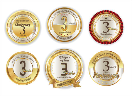 Anniversary retro vintage golden badges collection 3 years Illustration