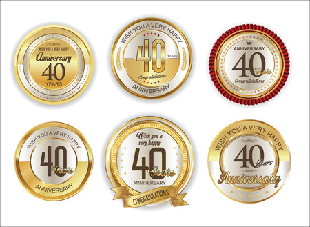 40 years: Anniversary retro vintage golden badges collection 40 years Illustration