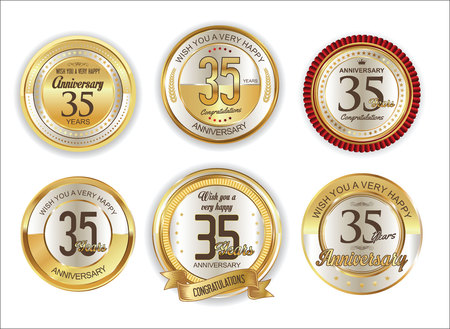 35: Anniversary retro vintage golden badges collection 35 years