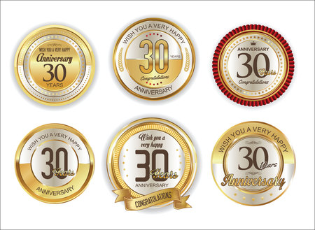 Anniversary retro vintage golden badges collection 30 years Ilustração