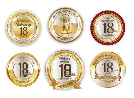 commemoration: Anniversary retro vintage golden badges collection 18 years