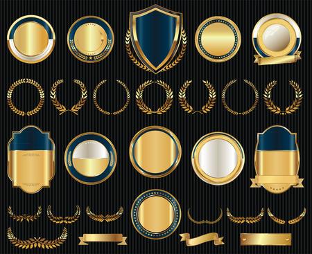 ベクトル中世金盾月桂樹の花輪とバッジ コレクション