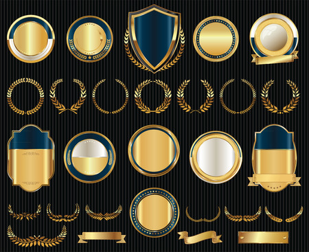 Vector medieval golden shields laurel wreaths and badges collection Ilustracja