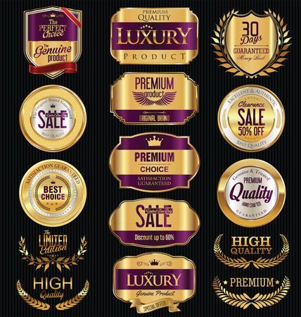 exclusive collection: Premium and luxury golden retro badges and labels collection