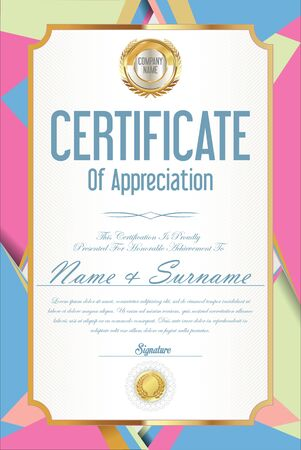 honour: Certificate retro design template Illustration