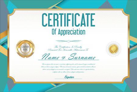 certificate design: Certificate retro design template Illustration