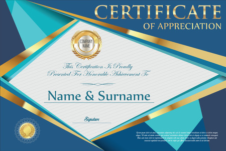 design template: Certificate retro design template Illustration