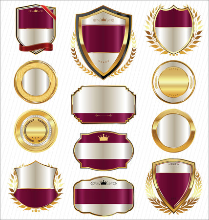 pink banner: Premium and luxury golden retro badges and labels collection