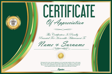 green and black: Certificate retro design template Illustration