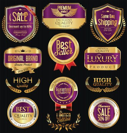 gold circle: Premium and luxury golden retro badges and labels collection