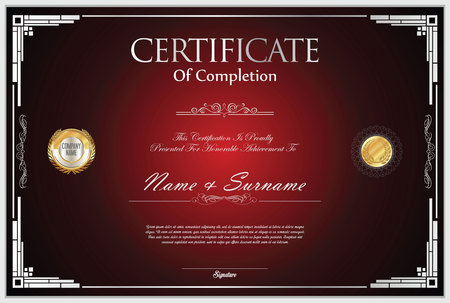 Certificate template retro design