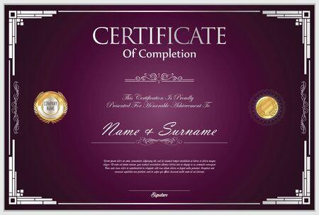 certificate design: Certificate template retro design