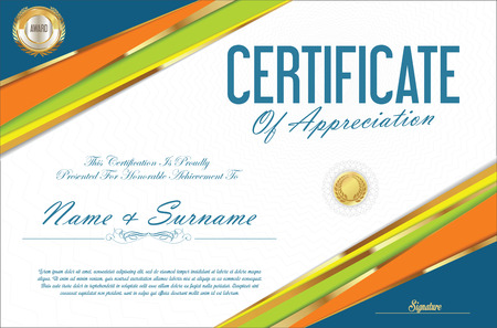 Certificate retro design template Illustration