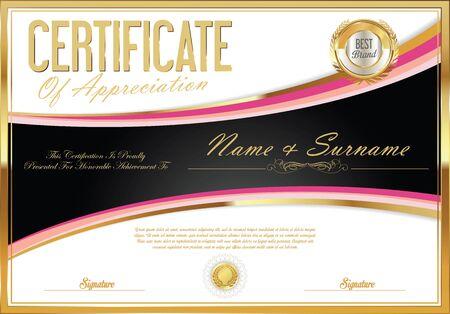 stock certificate: Certificate retro design template Illustration