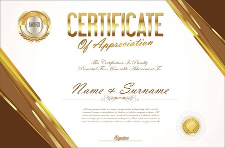 honour: Certificate template retro design