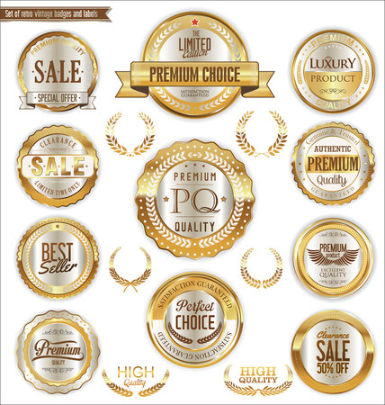 ribbon: Premium and luxury golden retro badges and labels collection