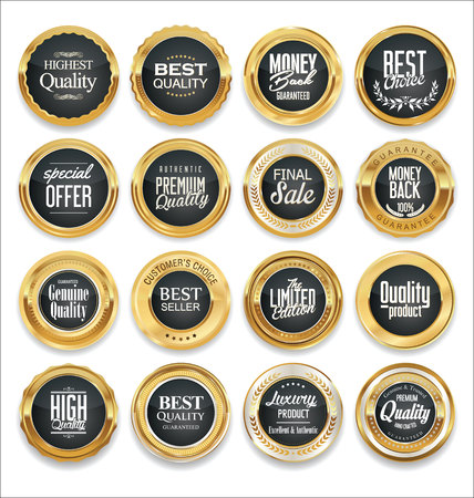 wax glossy: Luxury sale golden labels collection Illustration