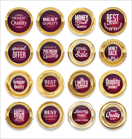 gold circle: Luxury sale golden labels collection Illustration
