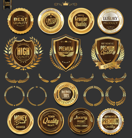 gold textured background: Golden badges and labels with laurel wreath collection