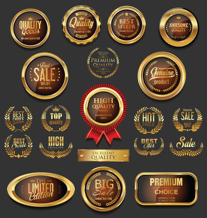 customer: Golden badges and labels with laurel wreath collection