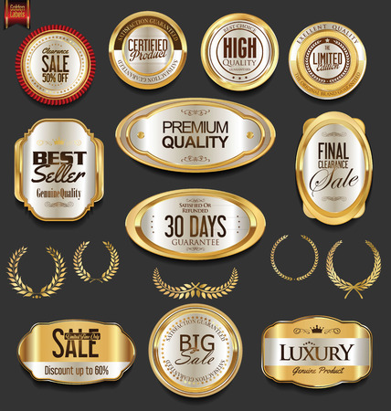 wax glossy: Golden badges and labels with laurel wreath collection