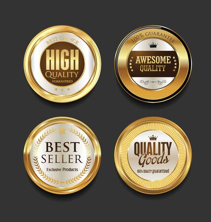 people icon: Luxury sale golden labels collection Illustration