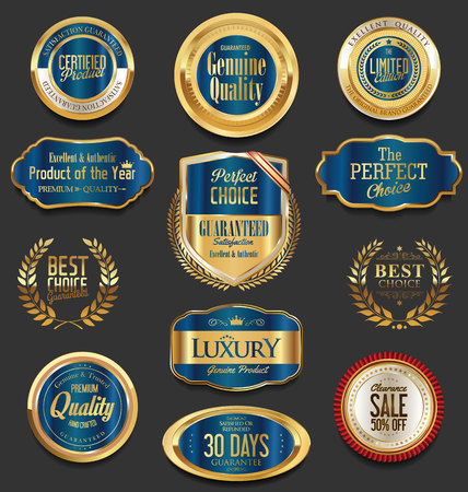 wax glossy: Set of blue retro vintage badges and labels collection Illustration