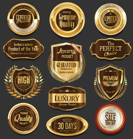 wax glossy: Set of brown retro vintage badges and labels collection