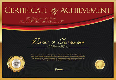 Certificate of achievement or diploma template Illustration