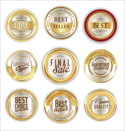 certificate template: Golden sale shields laurel wreaths and badges collection