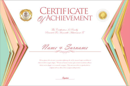 certificate design: Certificate or diploma design template Illustration