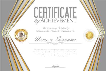 stock certificate: Certificate or diploma design template Illustration