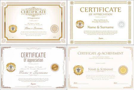 ribbon: Certificate collection retro design