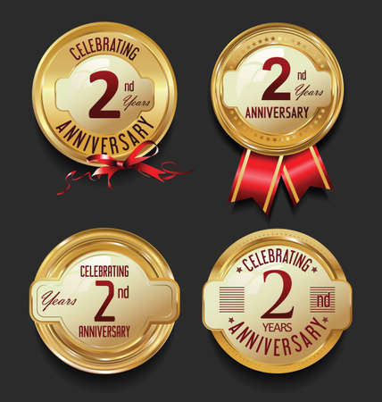 remembered: Anniversary golden retro vintage labels collection